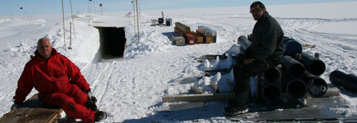 Camp activities: snow blowing and moving the heavy casing tubes down into the drill trench