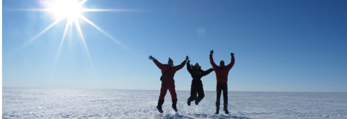 Field participants behaving on sunny ice