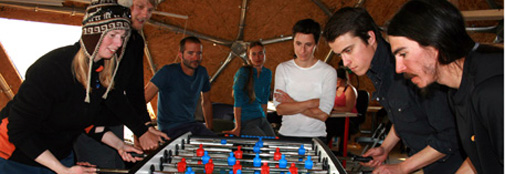 Table soccer is a popular after-dinner sport
