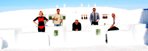 The snow bar opens on Saturday night.